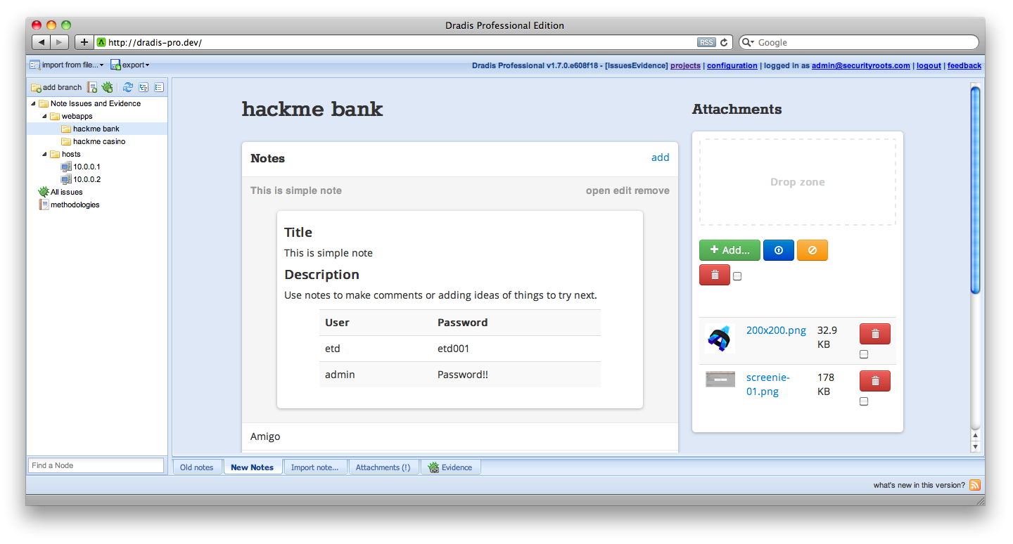 A screenshot showing note contents, issues and attachments in one page