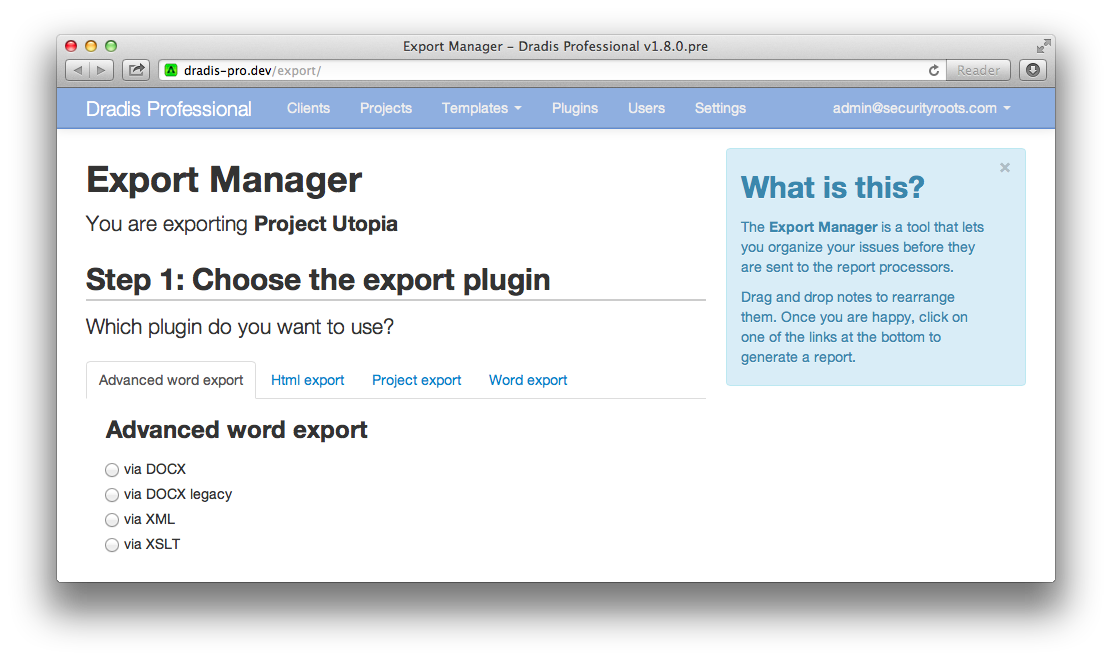 Screenshot showing the 1st step of the Export Manager where you choose the export plugin you want to use