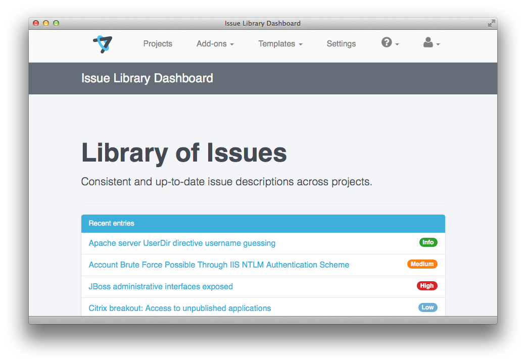 Screenshot showing the IssueLibrary entries with a badge showing their tags