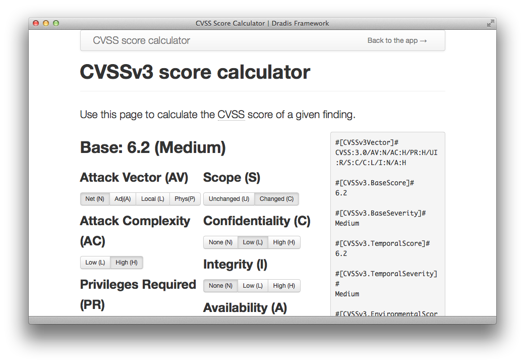 A screenshot showing the interface of the new calculator that lets you generate CVSSv3 by choosing the value for each subscore.