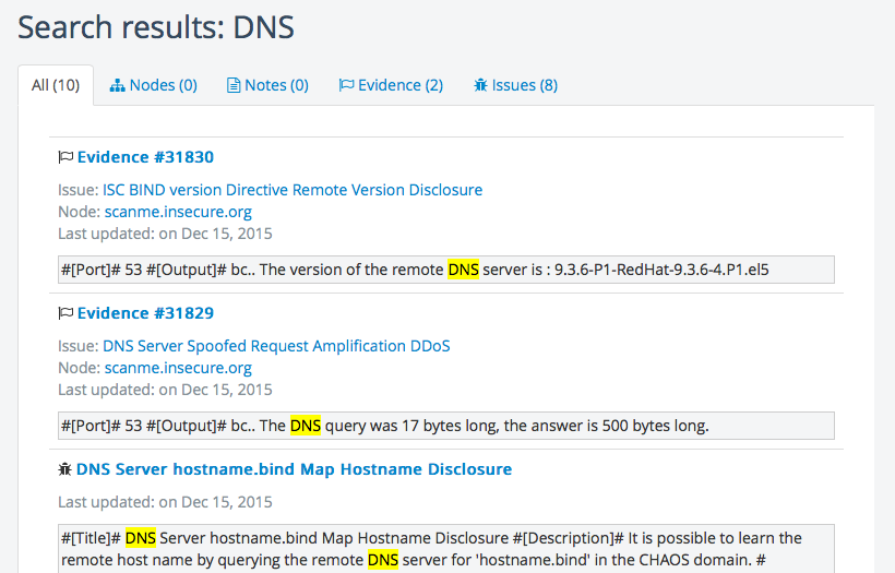 "A screenshot showing the ""All"" tab with results for a ""DNS"" search"