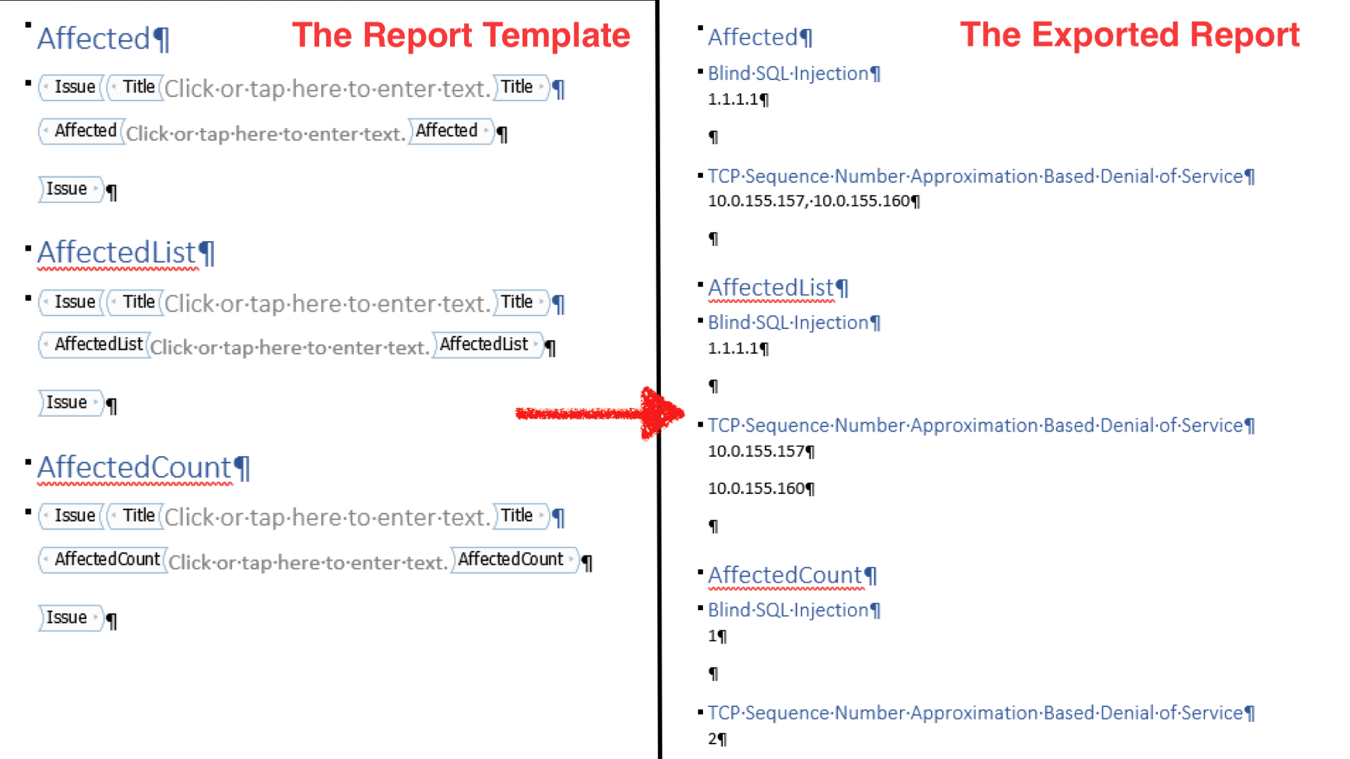 The AffectedList and AffectedCount content controls can be used in your Word report templates