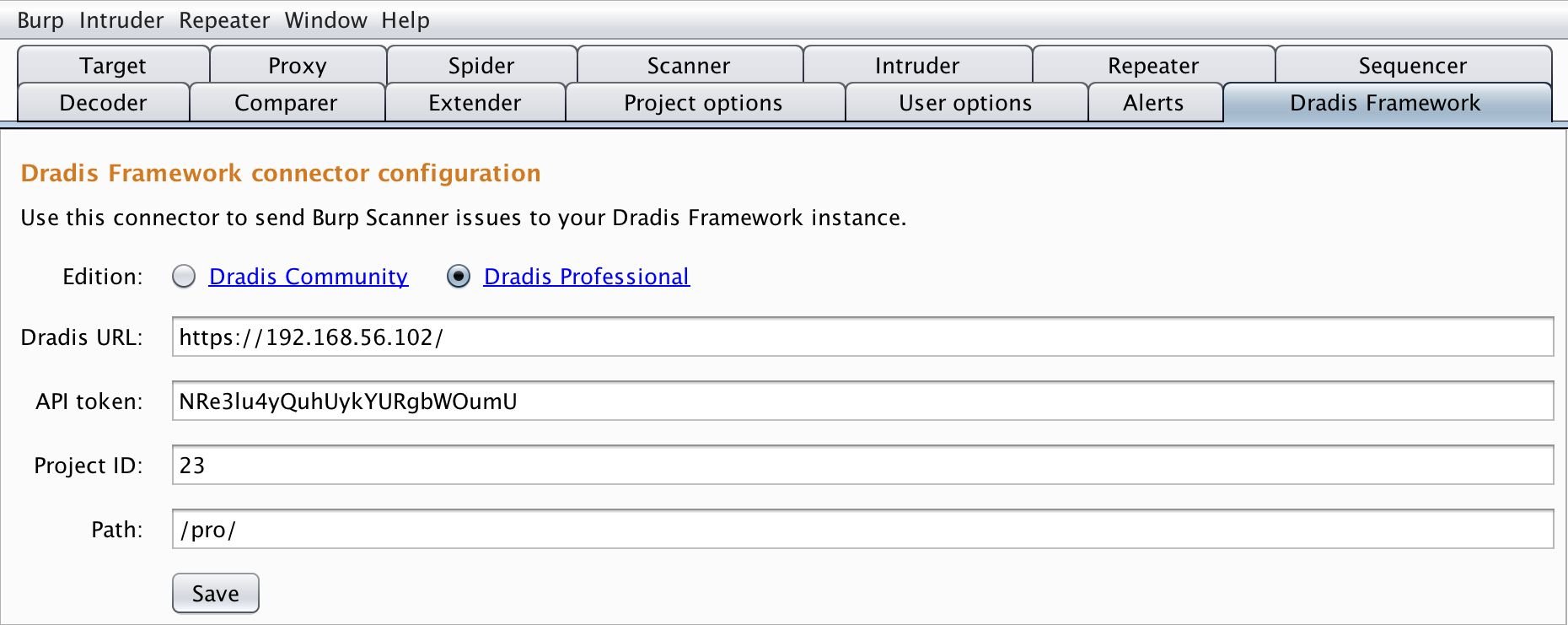 Configure the Burp-Dradis Extension | Dradis Pro Help