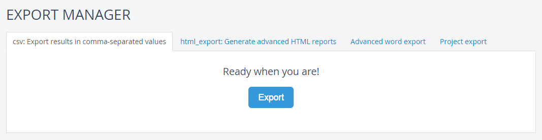 Export your project to CSV | Dradis Pro Help