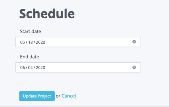 Screenshot of the editing a project schedule