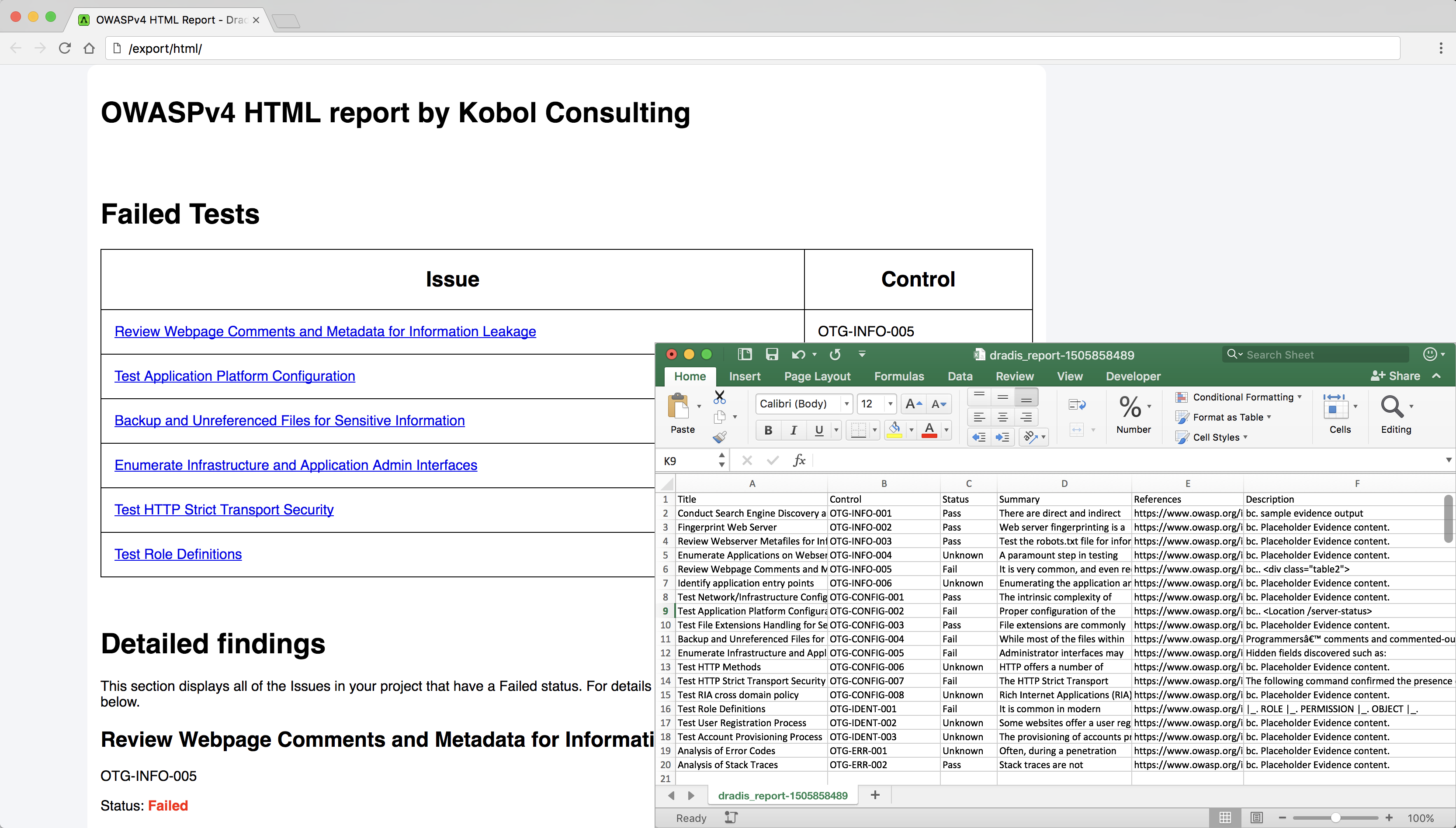 Screenshot showing generated reports in Word and Excel