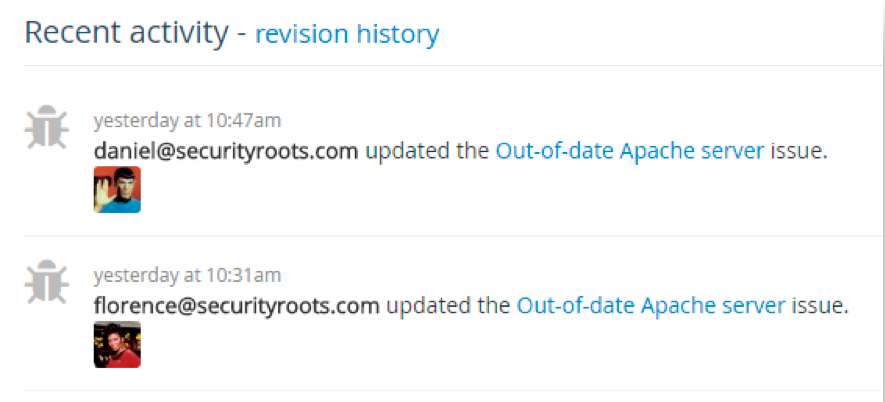 The Recent activity tab and the Activity Feed show recent updates made by all team members