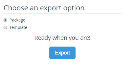 View showing the export option available to take the project offline