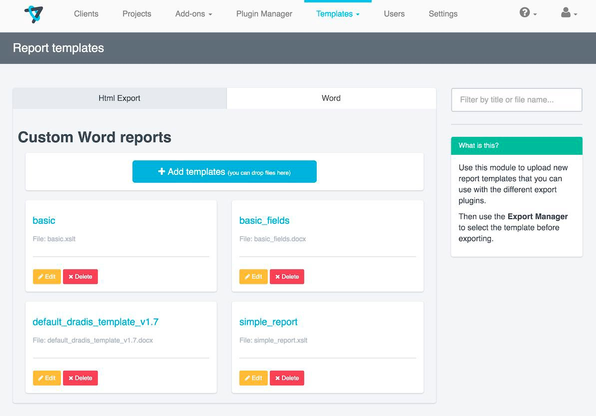 Dradis' report template manager admin interface
