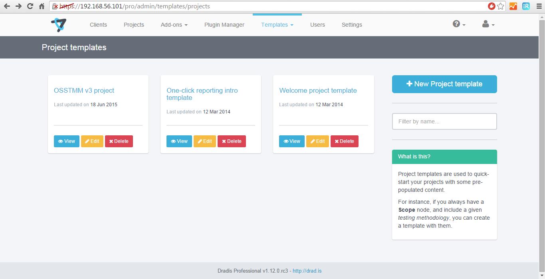 Project templates | Dradis Pro Help