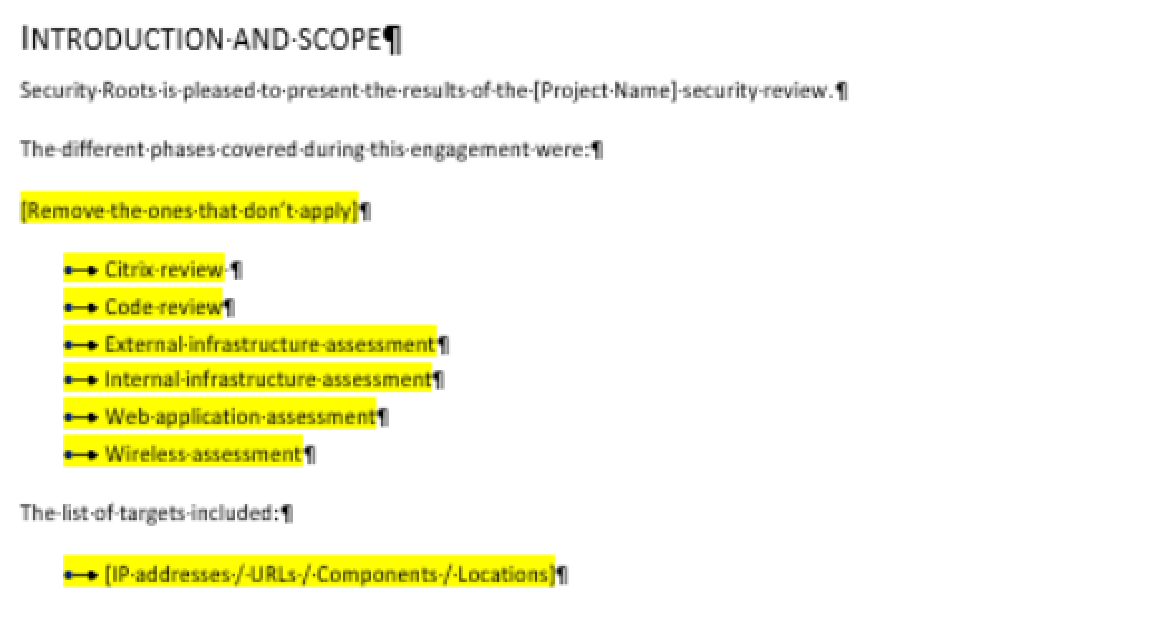 Introduction, Scope, And Summary Sections  Project Summary Report Sample