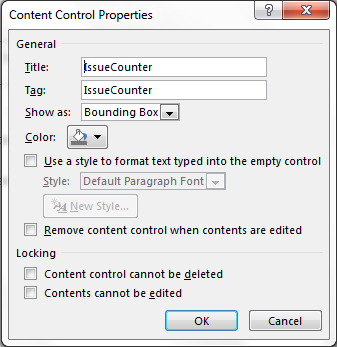 issuecounter content control dradis pro help in the properties of the rich text content control set the title to issuecounter note the capitalization remember that word will automatically populate