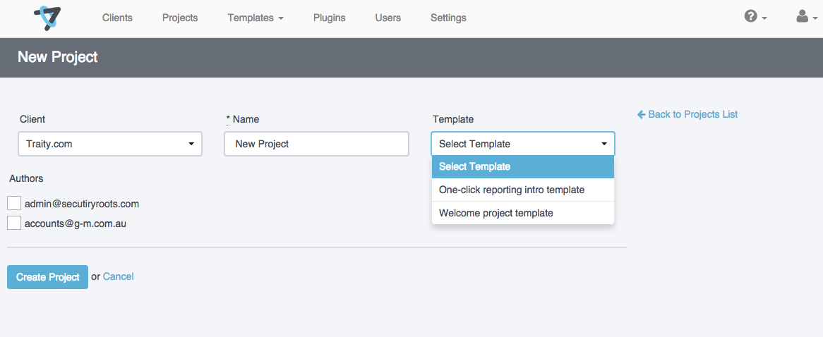 Shows the project creation page with a drop down list with the available methodologies.