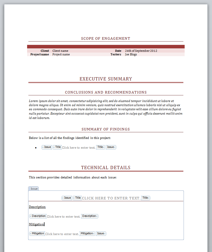 Simple report template using multiple sections and document properties.