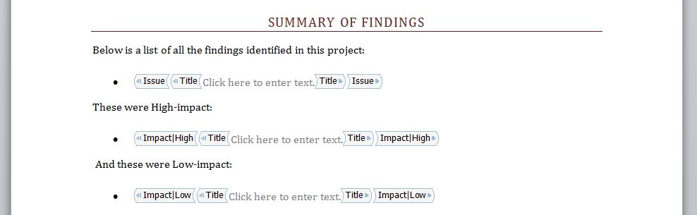 Shows a template that filters notes by the Impact field.