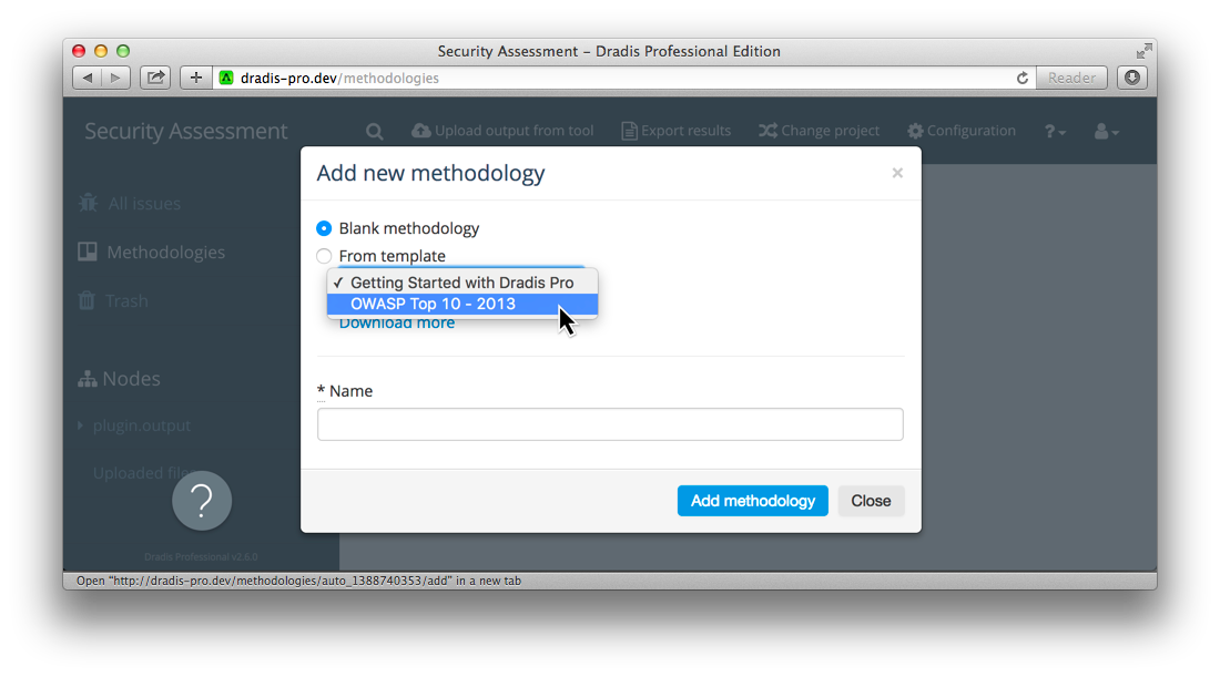 Shows the dropdown list of available methodologies.